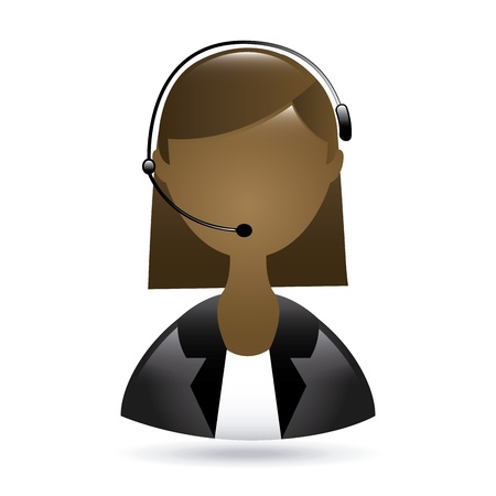 call centre girl: receptionist black woman  with phone over white background  vector illustration Illustration