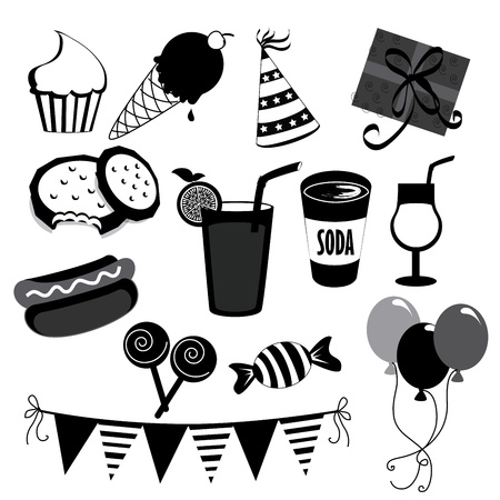 party icons over white background vector illustration  Vector