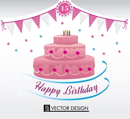 happy birthday over white background vector illustration Stock Vector - 20252261