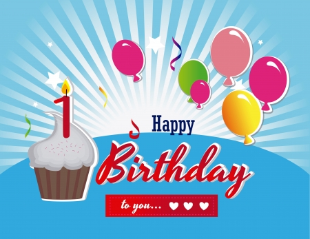 happy birthday design over blue background vector illustration Stock Vector - 20252267