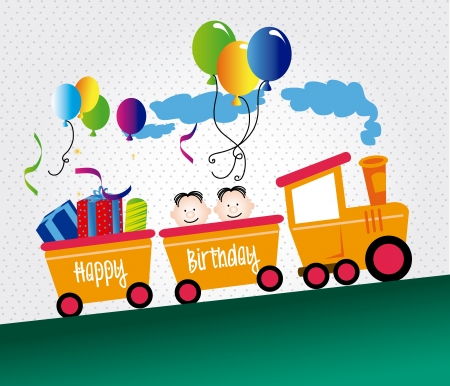 train party over dotted background vector illustration  Stock Vector - 20252274
