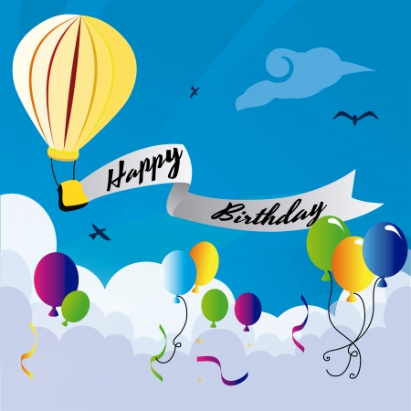 happy birthday design over sky background vector illustration  Vector