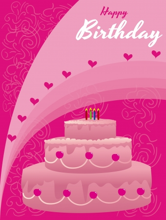 happy birthday over pink background vector illustration  Stock Vector - 20252260