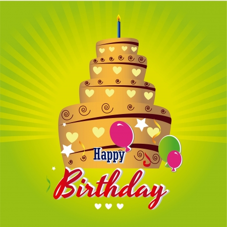 happy birthday cake over green background vector illustration  Stock Vector - 20252268