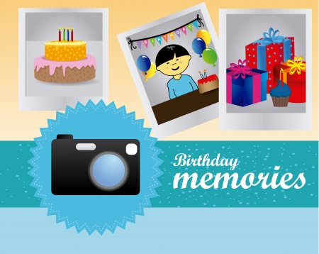 birthday memories over blue and cream background vector illustration Stock Vector - 20252258