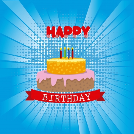 happy birthday design over blue background vector illustration  Stock Vector - 20252279