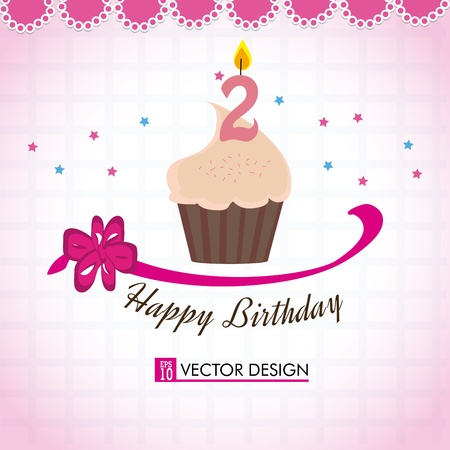 happy birthday cupcake over pink background vector illustration  Vector