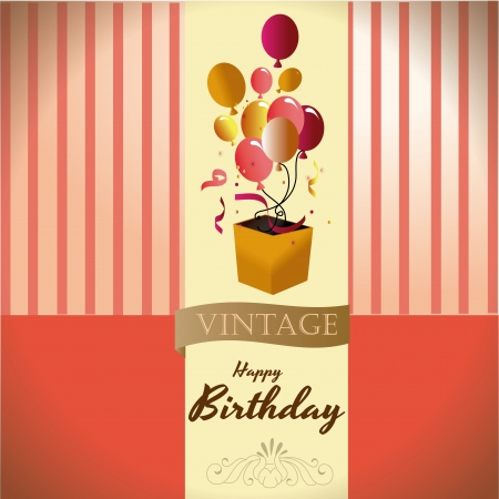 happy birthday over vintage background vector illustration  Vector
