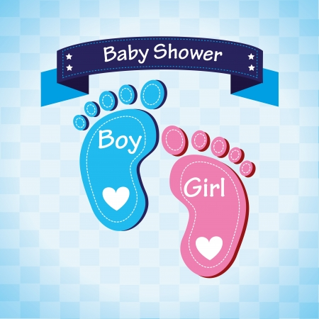 baby shower over blue background vector illustration  Ilustracja