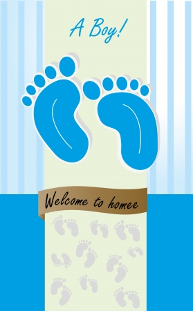 newborn footprint: welcome to  home over blue background vector illustration