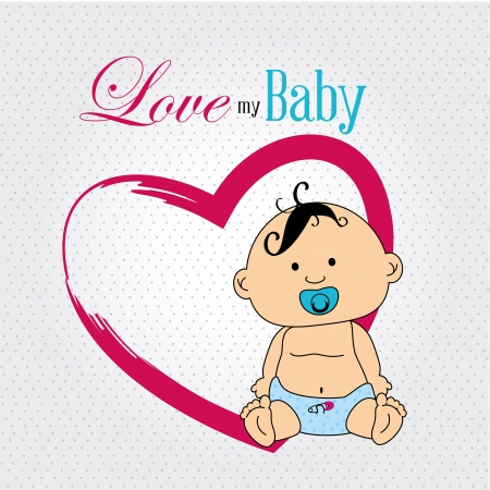 new born baby: love my baby over dotted background vector illustration