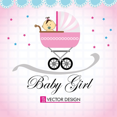 baby girl over pink background vector illustration