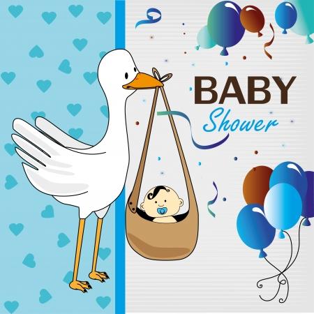 baby shower design over blue background vector illustration