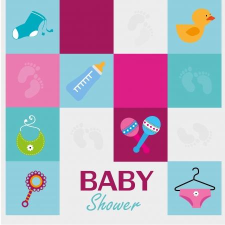 ducha de bebé iconos sobre fondo azul ilustración vectorial Ilustración de vector