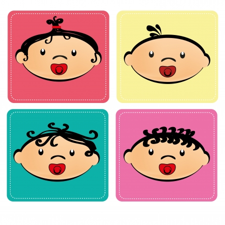 baby faces over white background vector illustration