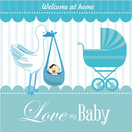welcome home: love my baby over blue background vector illustration  Illustration
