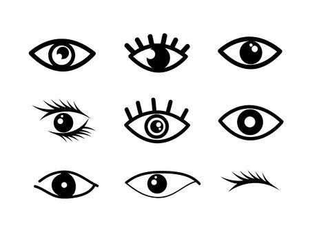 ojos caricatura: Diseños del ojo sobre fondo blanco ilustración vectorial Vectores