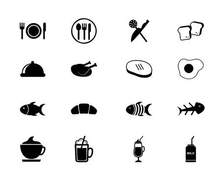 chicken roast: Iconos de los alimentos y las bebidas sobre fondo blanco ilustraci?ectorial