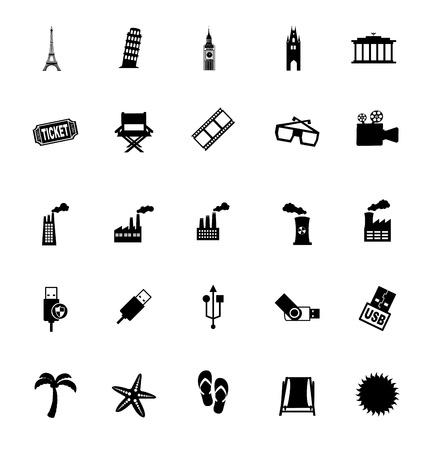 pisa tower: varied icons over white background vector illustration