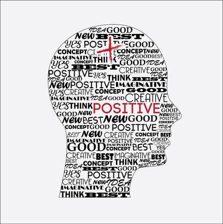 positive thought: positive mind over white background vector illustration