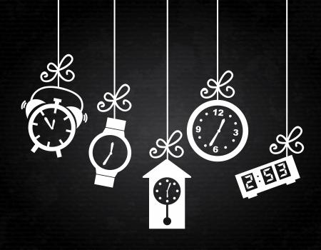 clock icons over black background vector illustartion  Illustration