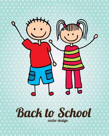 back to school over dotted background vector illustration Stock Vector - 20498761
