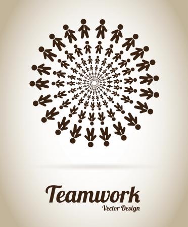 Disegno Lavoro di squadra su sfondo grigio illustrazione vettoriale Archivio Fotografico - 20498958