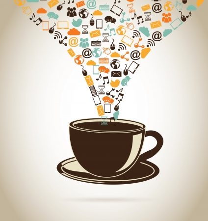 social media icons over beige background vector illustration Stock Vector - 20498977