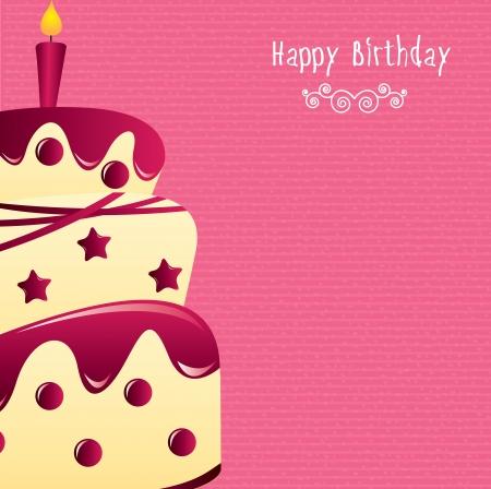 happy birthday design over pink background vector illustration Stock Vector - 20498935