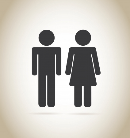 man and woman silhouette over beige background vector illustration  Vector