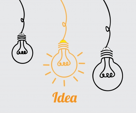 hanging on: bulbs design over gray background vector illustration