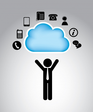 think tank: communication cloud over gray background vector illustration