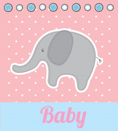 baby announcement: baby elephant over pink background vector illustration Illustration