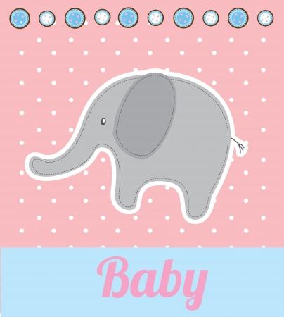 happy birthday baby: beb� elefante sobre fondo de color rosa ilustraci�n vectorial Vectores