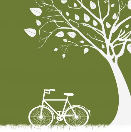 boom een fiets over een groene achtergrond vector illustratie Stock Illustratie
