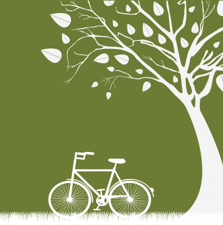 tree an bicycle over green background vector illustration Illustration