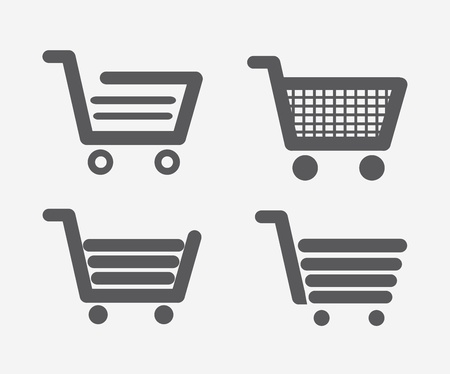 cart button: shopping carts types over red background vector illustration