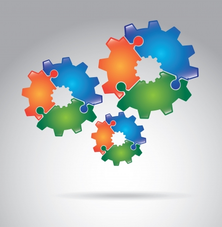gears puzzle over gray background vector illustration Vector