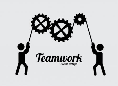 灰色の背景ベクトル イラスト チームワーク設計