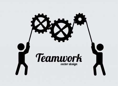 trabajo de equipo: el trabajo en equipo de dise�o sobre fondo gris ilustraci�n vectorial