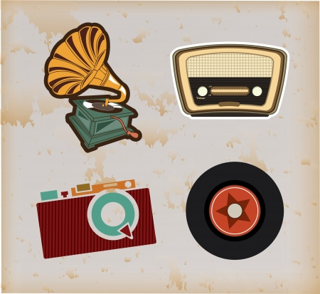 old technology over vintage background vector illustration Ilustração
