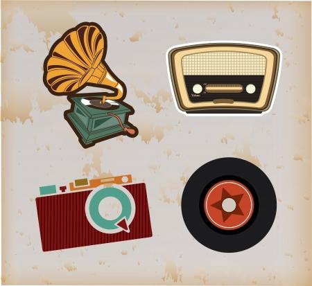 oude technologie over vintage achtergrond vector illustratie