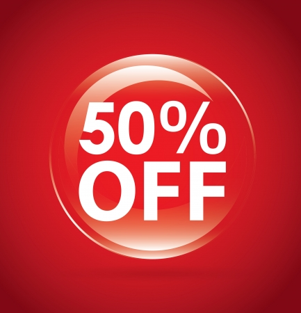 percent off label over red background. vector illustration Stock Vector - 20499684