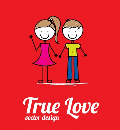 true: true love card over red background vector illustration  Illustration