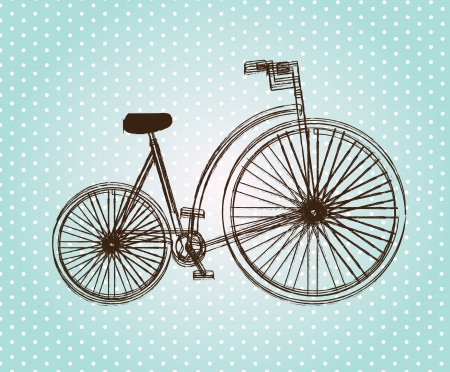 Antique bicycle over blue dotted background vector illustration  Vector