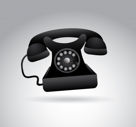 dialing: phone dialing over  gray  background vector illustration