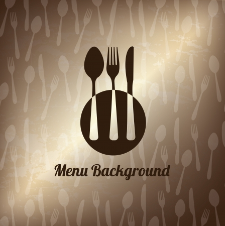 Cutlery old over bronze background vector illustration Vector