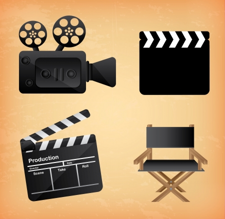 movie icons over vintage background vector illustration