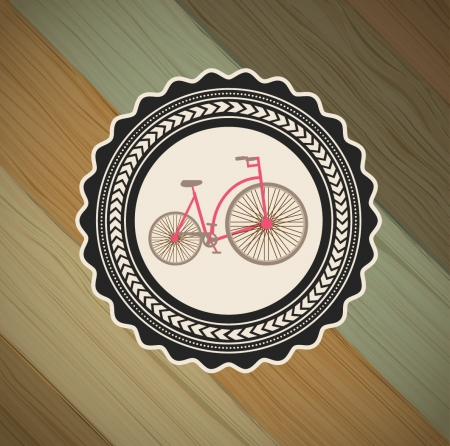 stationary bicycle: bicycle label over wooden background vector illustration