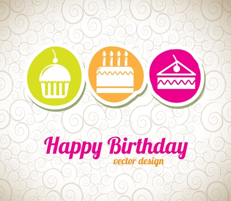 happy birthday design over artistic  background vector illustration  Vector